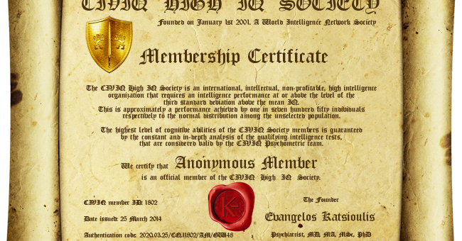New CIVIQ Membership Certificate